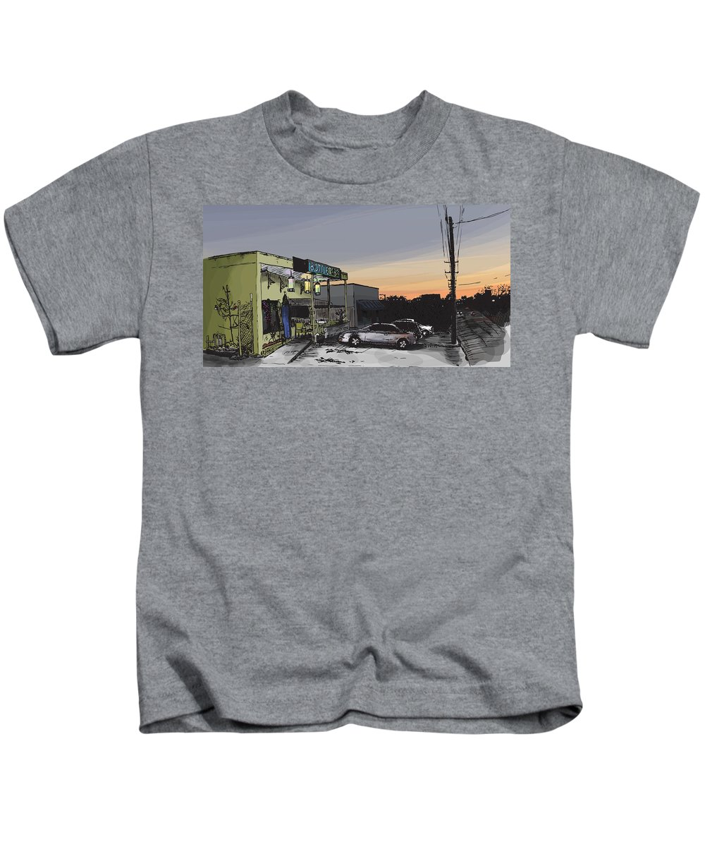 Bottletree Kids T-Shirt featuring the drawing The Bottletree Cafe by Greg Smith