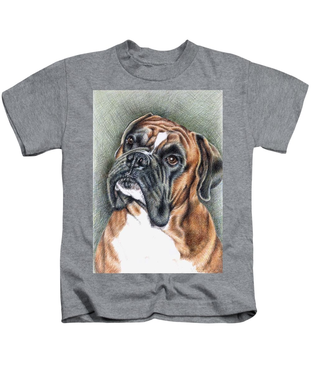Dog Kids T-Shirt featuring the drawing The Boxer by Nicole Zeug