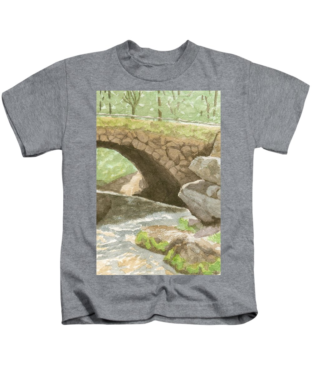 Water Kids T-Shirt featuring the painting The Bridge at Gleason Falls by Sharon E Allen