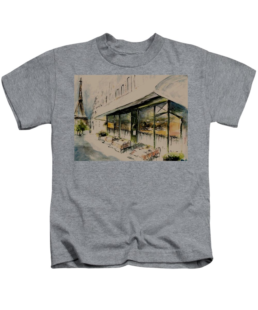 Diane Strain Kids T-Shirt featuring the painting The Champs Elysees by Diane Strain