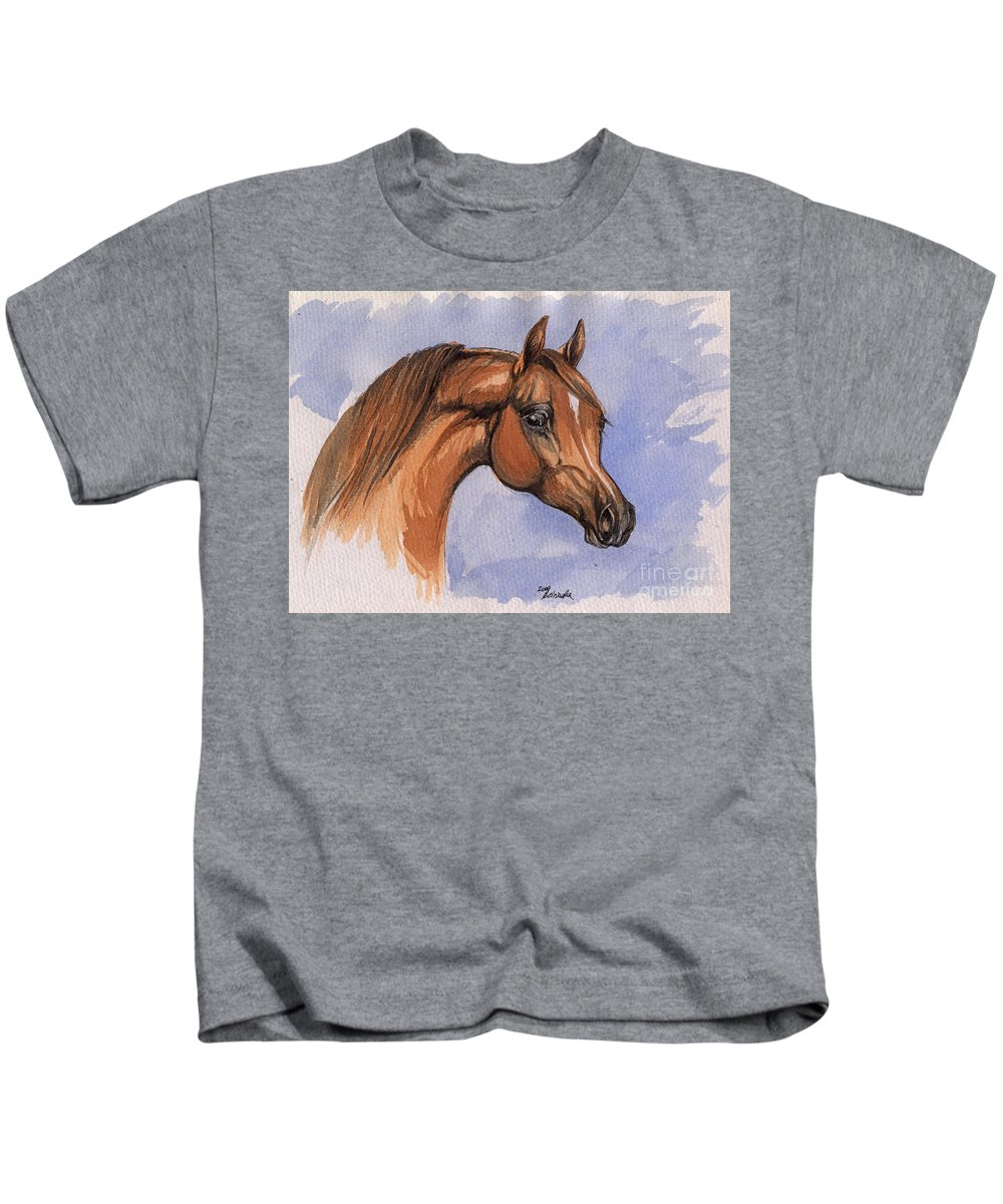 Horse Kids T-Shirt featuring the painting The Chestnut Arabian Horse 1 by Angel Ciesniarska