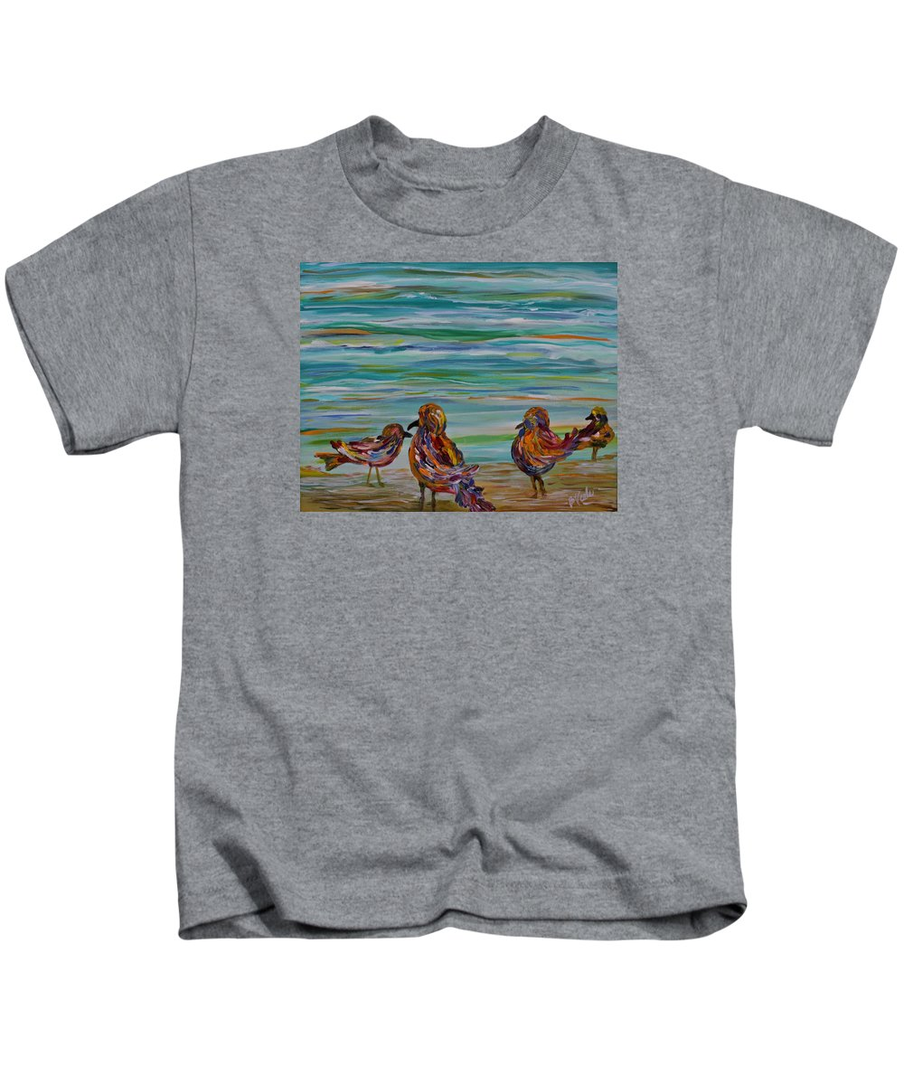 Grackles Kids T-Shirt featuring the painting The Convention by Bev Veals
