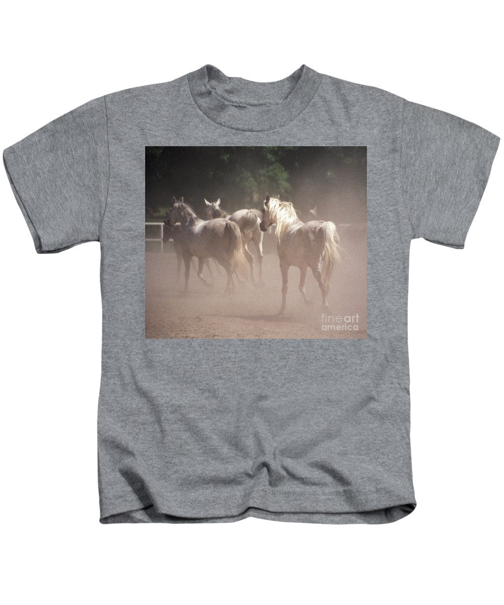 Arabian Horse Kids T-Shirt featuring the photograph The Daughters Of The Desert by Angel Ciesniarska