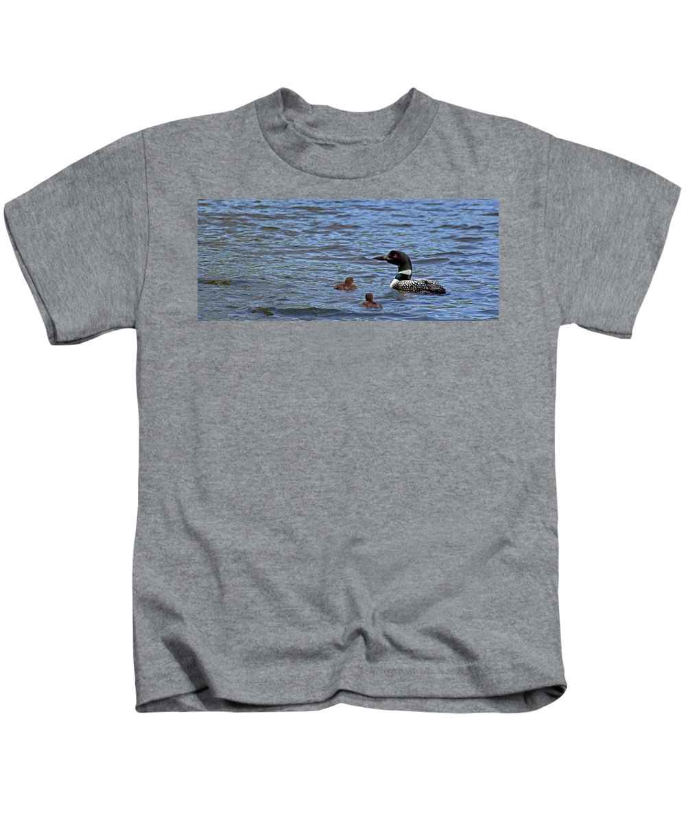 Loons Kids T-Shirt featuring the photograph The Deep End by Angie Schutt