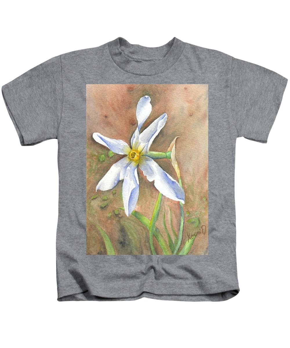 Narcissus Kids T-Shirt featuring the painting The Delicate Autumn Lady - Narcissus Serotinus by Oty Kocsis