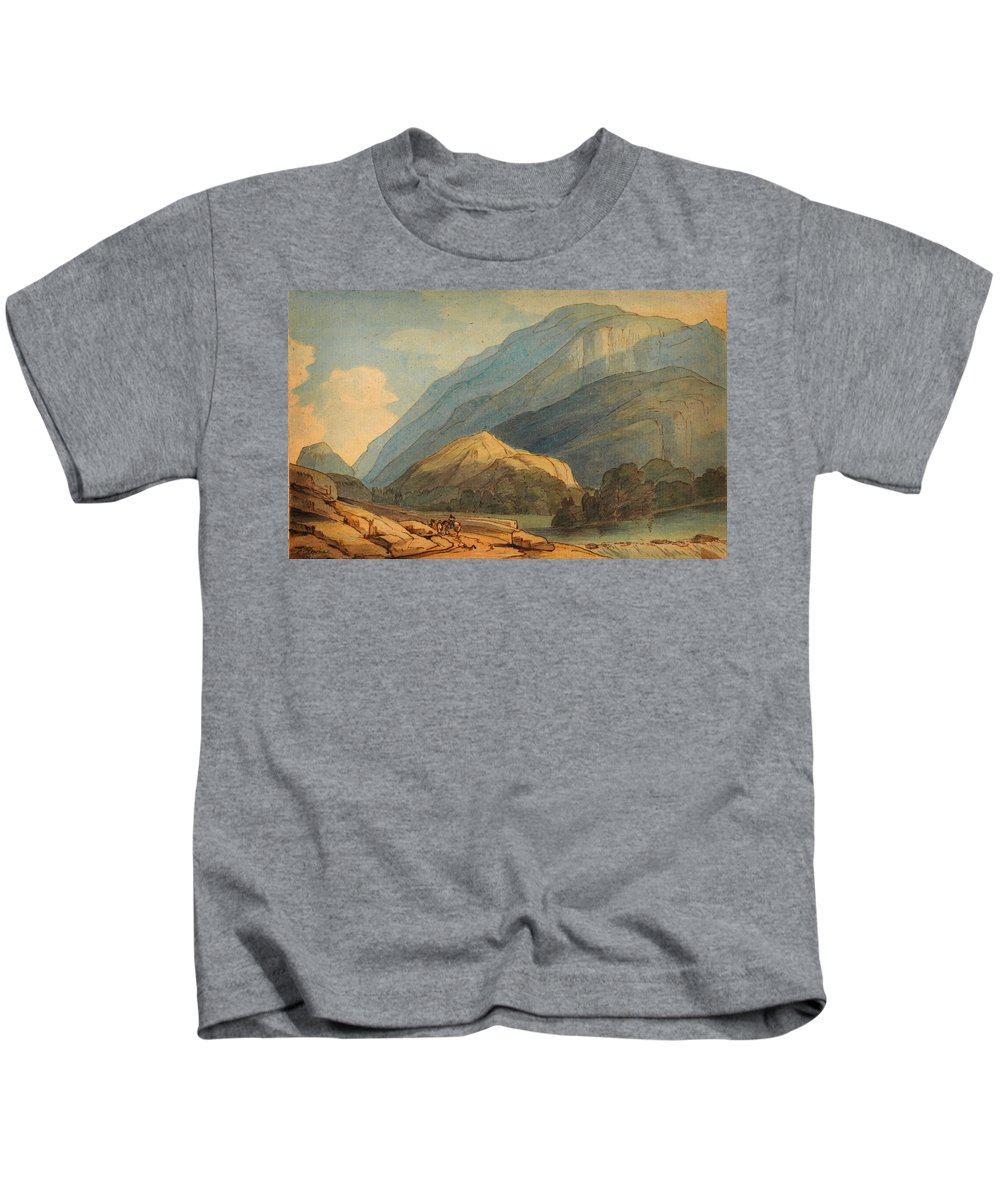Francis Towne - The Entrance Into Borrowdale Kids T-Shirt featuring the painting The Entrance Into Borrowdale by Celestial Images