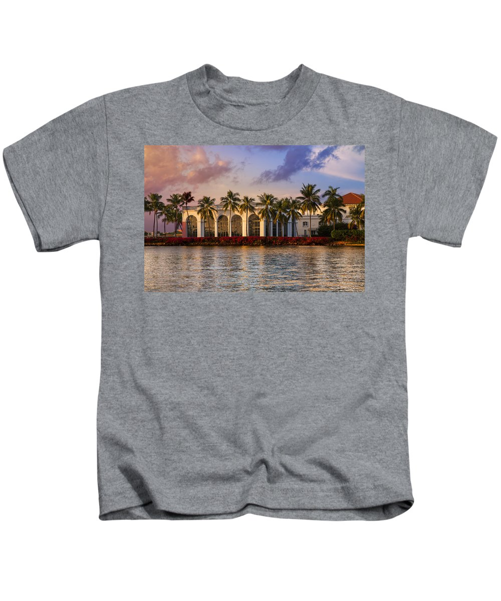 Clouds Kids T-Shirt featuring the photograph The Flagler Museum by Debra and Dave Vanderlaan