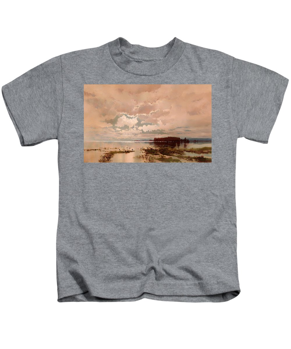 Painting Kids T-Shirt featuring the painting The Flood In The Darling 1890 by Mountain Dreams