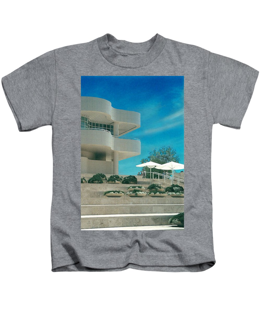 Landscape Kids T-Shirt featuring the photograph The Getty Panel 1 by Steve Karol