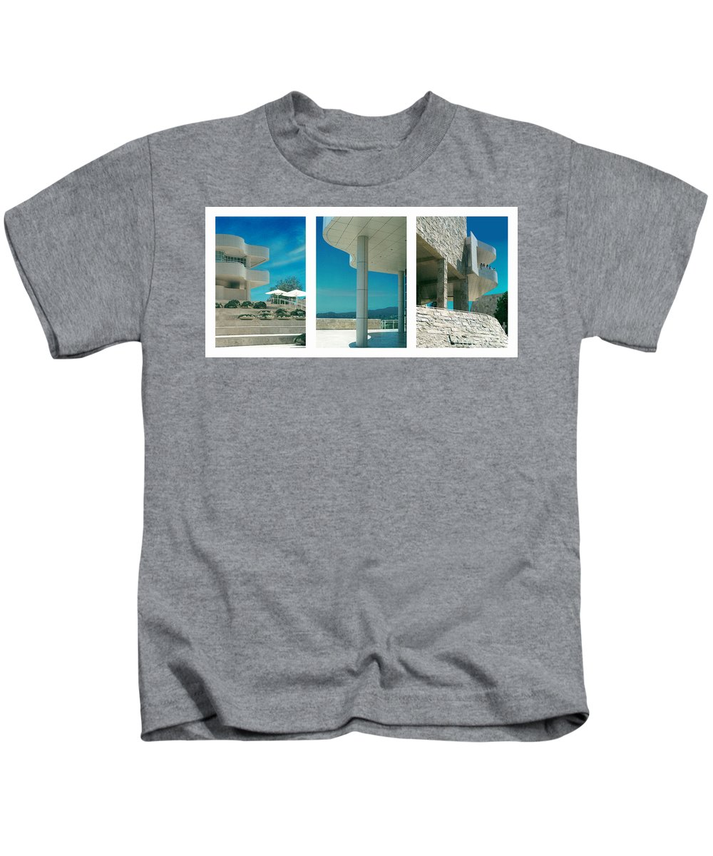 Abstract Kids T-Shirt featuring the photograph The Getty Triptych by Steve Karol
