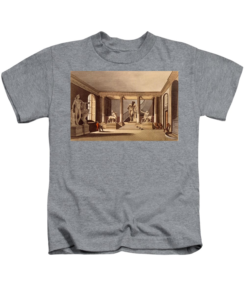 Hall At The Royal Academy Kids T-Shirt featuring the drawing The Hall At The Royal Academy, Somerset by English School