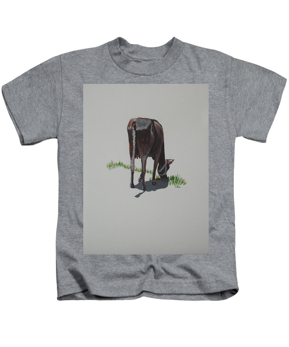 The Holy Cow Kids T-Shirt featuring the painting The Holy Cow And Dung 4 by Usha Shantharam