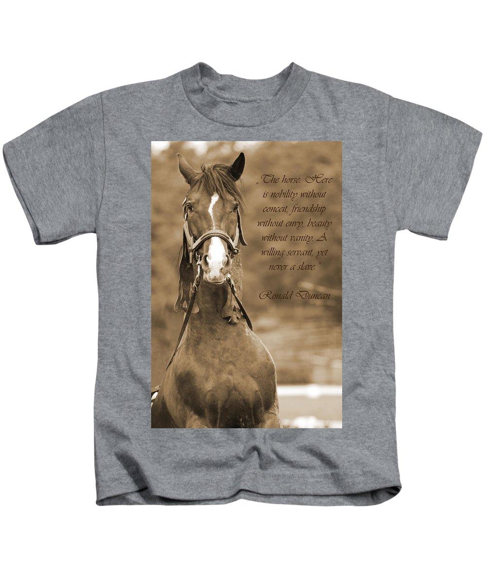 Horse Kids T-Shirt featuring the photograph The Horse by Daniel Csoka