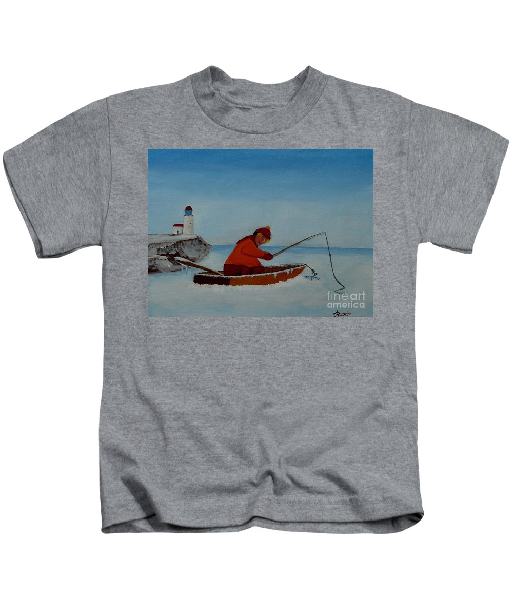 Stupid Kids T-Shirt featuring the painting The Ice Fisherman by Anthony Dunphy