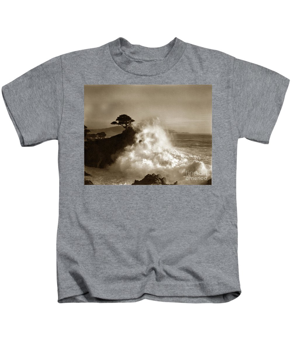Lone Cypress Kids T-Shirt featuring the photograph The Lone Cypress Midway Point Pebble Beach Lewis Josselyn Circa 1916 by California Views Mr Pat Hathaway Archives