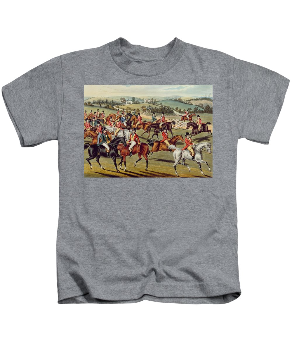 Fox Hunt Kids T-Shirt featuring the painting 'the Meet' Plate I From 'fox Hunting' by Charles Senior Hunt