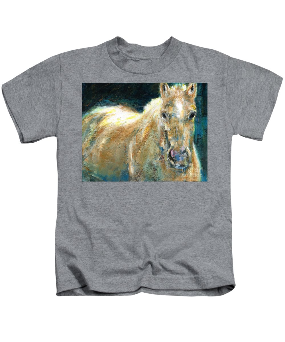 Horses Kids T-Shirt featuring the painting The Palomino by Frances Marino