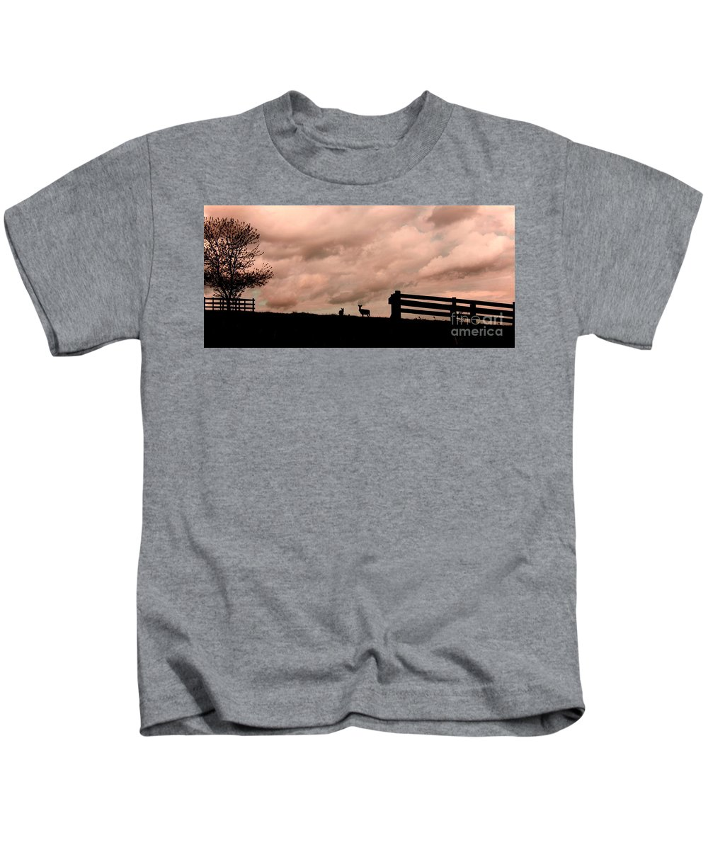 Deer Kids T-Shirt featuring the photograph Nature The Peace Of Dusk by Linsey Williams