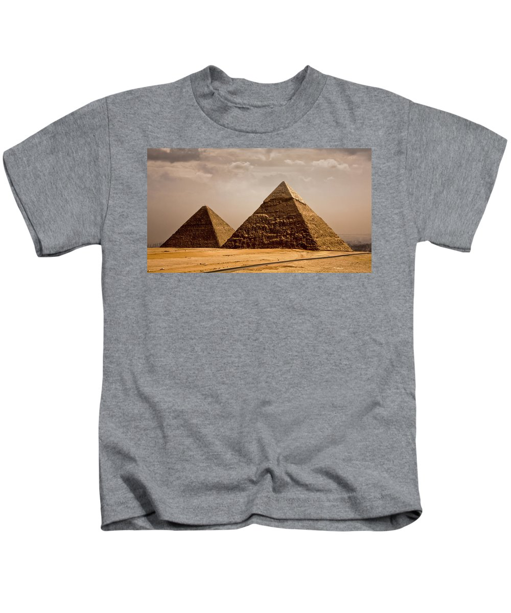 Egypt Kids T-Shirt featuring the photograph The Pyramids Of Giza by Anthony Doudt