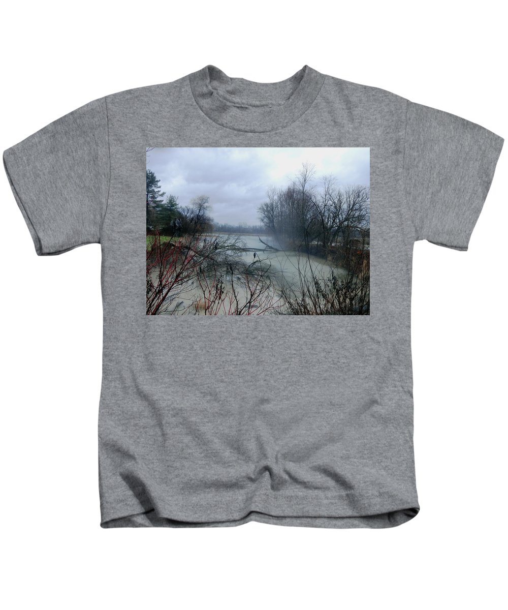 Rain Kids T-Shirt featuring the digital art The Rains Came by Barkley Simpson
