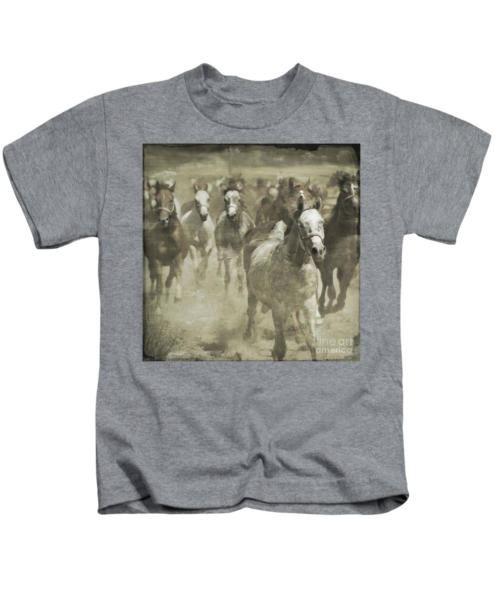 Horse Kids T-Shirt featuring the photograph The Run For Freedom by Angel Tarantella