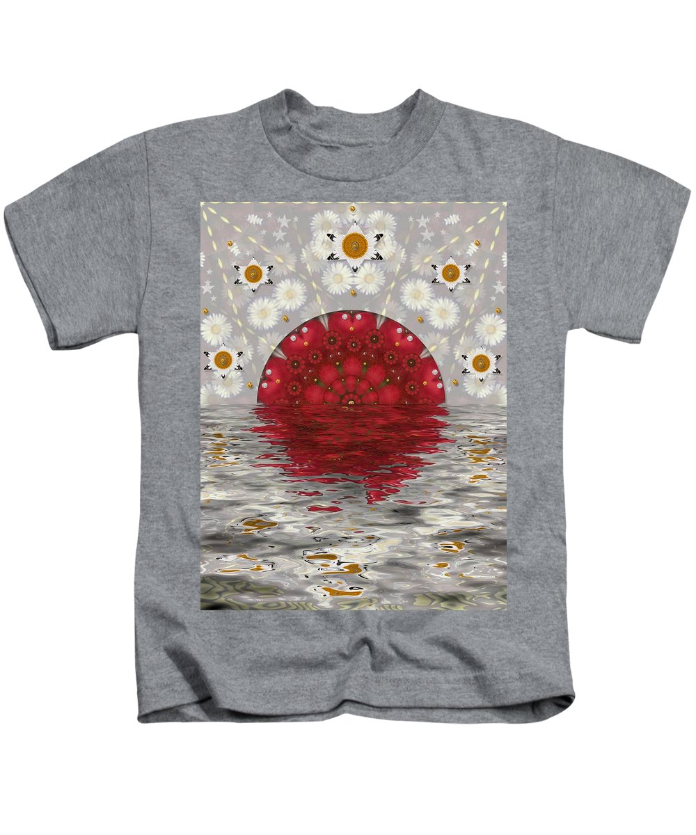 Seascape Kids T-Shirt featuring the mixed media The Sacred Sun Will Always Shine Again by Pepita Selles