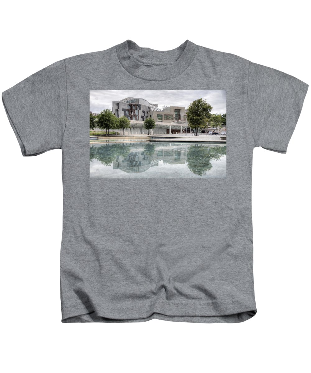 Scottish Kids T-Shirt featuring the photograph The Scottish Parliament by Ross G Strachan