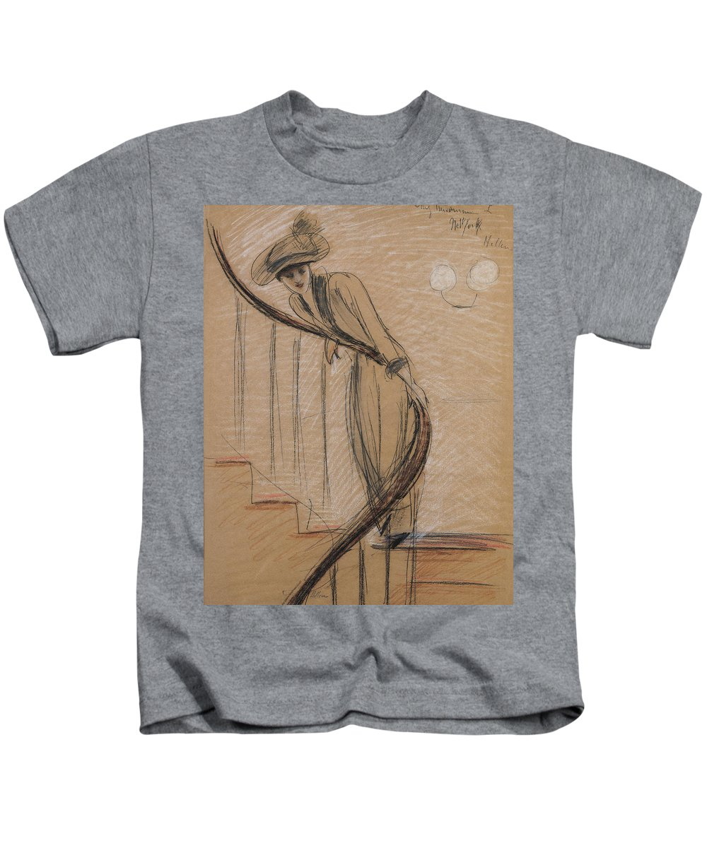 Woman Kids T-Shirt featuring the drawing The Staircase by Paul Cesar Helleu