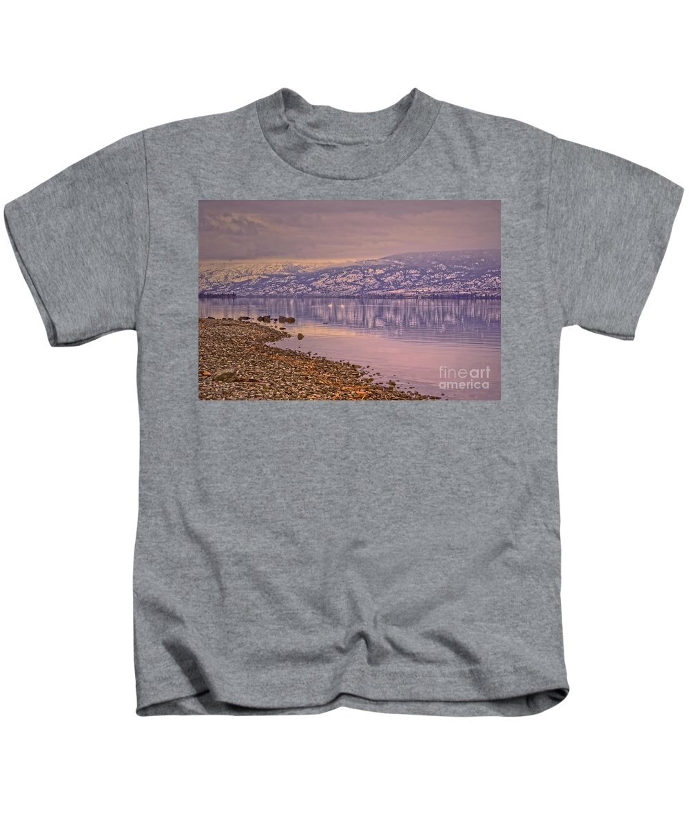 Winter Solstice Kids T-Shirt featuring the photograph The Swans On Winter Solstice by Tara Turner