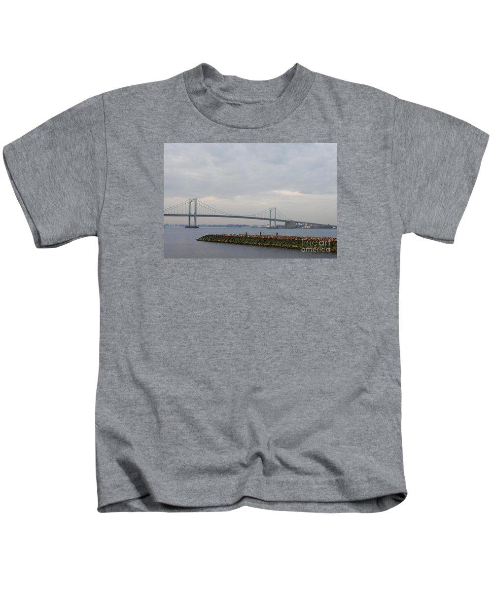The Throgs Neck Bridge Kids T-Shirt featuring the photograph The Throgs Neck Bridge by John Telfer