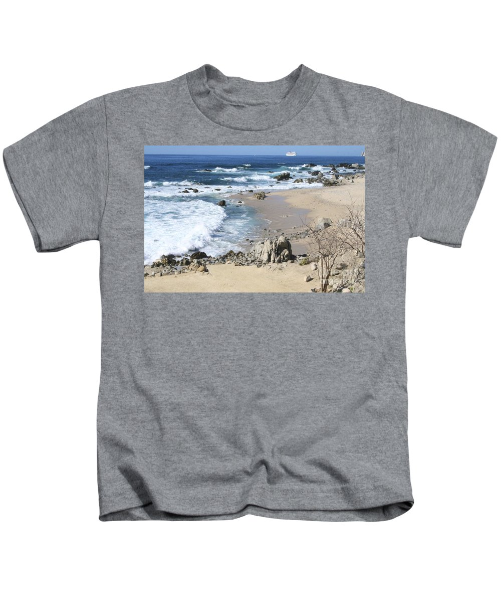 Sea Kids T-Shirt featuring the photograph The Waves - The Sea by Christy Gendalia