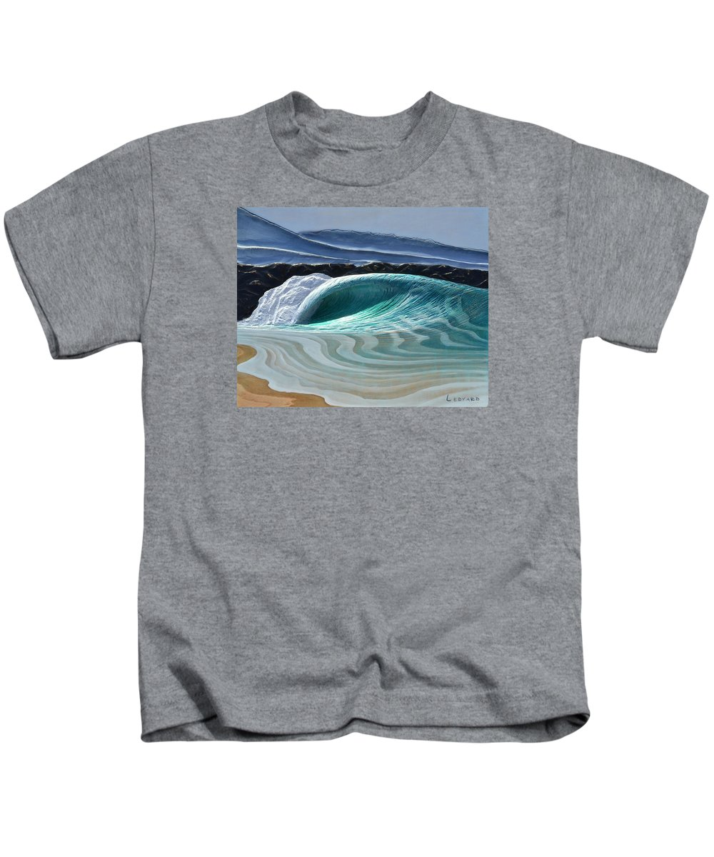 Wave Kids T-Shirt featuring the painting The Wedge by Nathan Ledyard