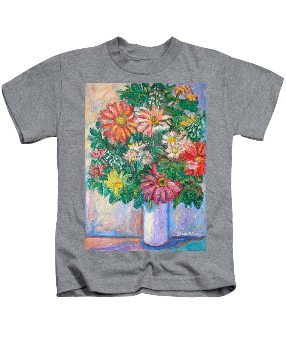 Still Life Kids T-Shirt featuring the painting The White Vase by Kendall Kessler