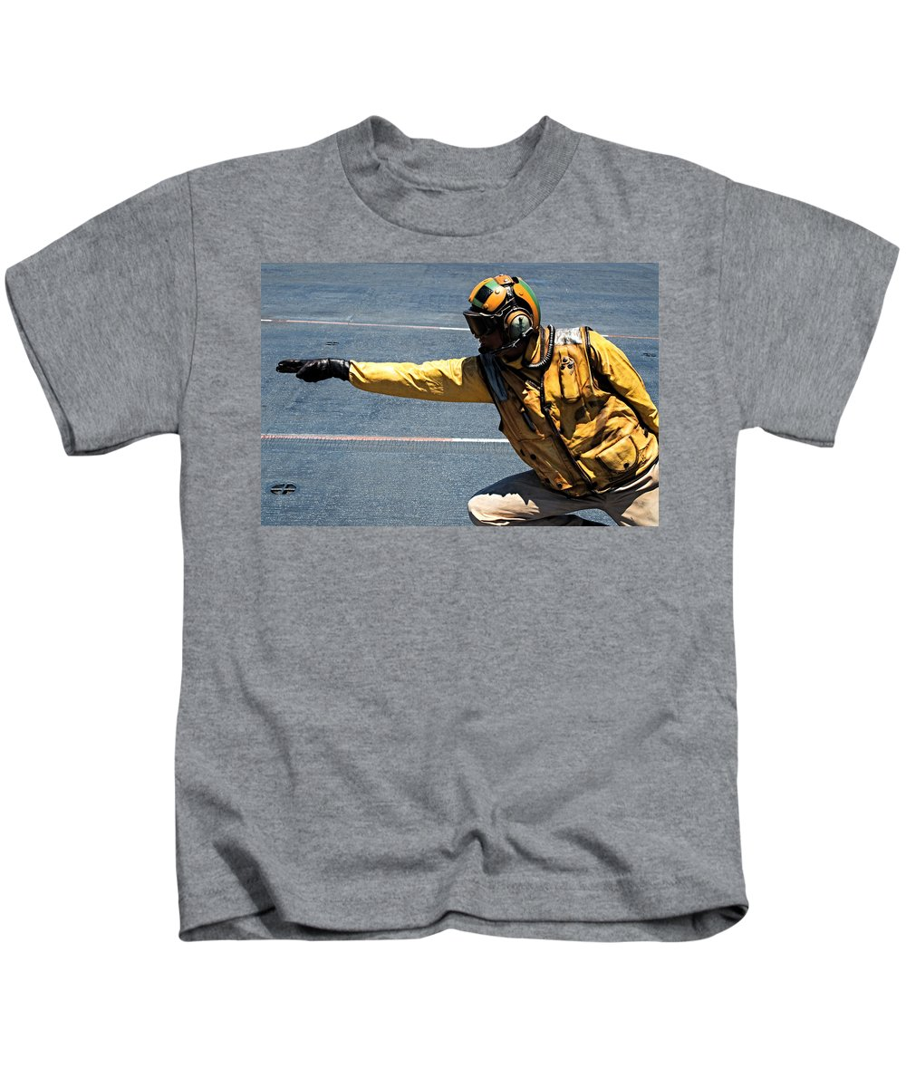 Navy Kids T-Shirt featuring the photograph The Yellow Shirt by See My Photos