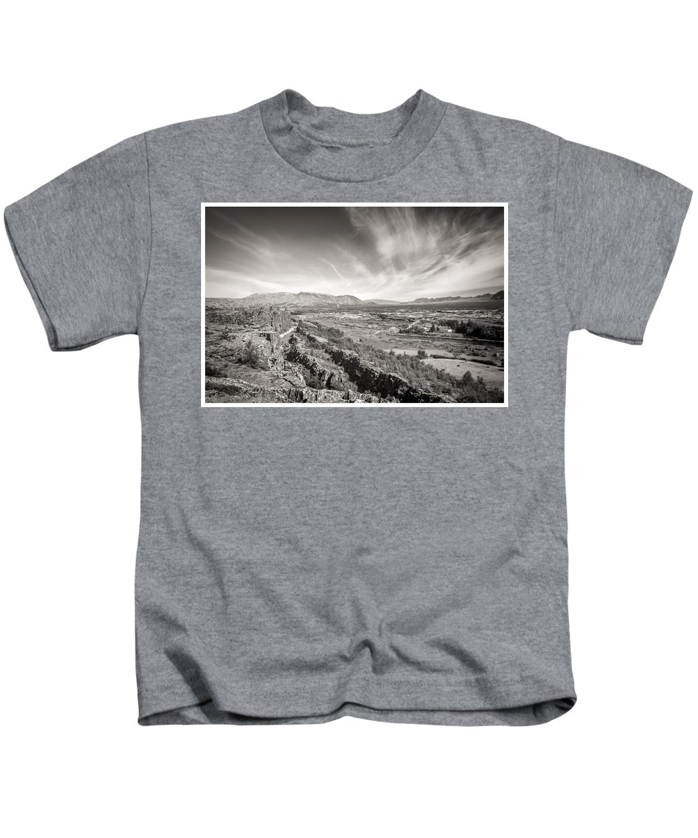 First Golden Circle Kids T-Shirt featuring the photograph Thingvellir Iceland Black And White by For Ninety One Days