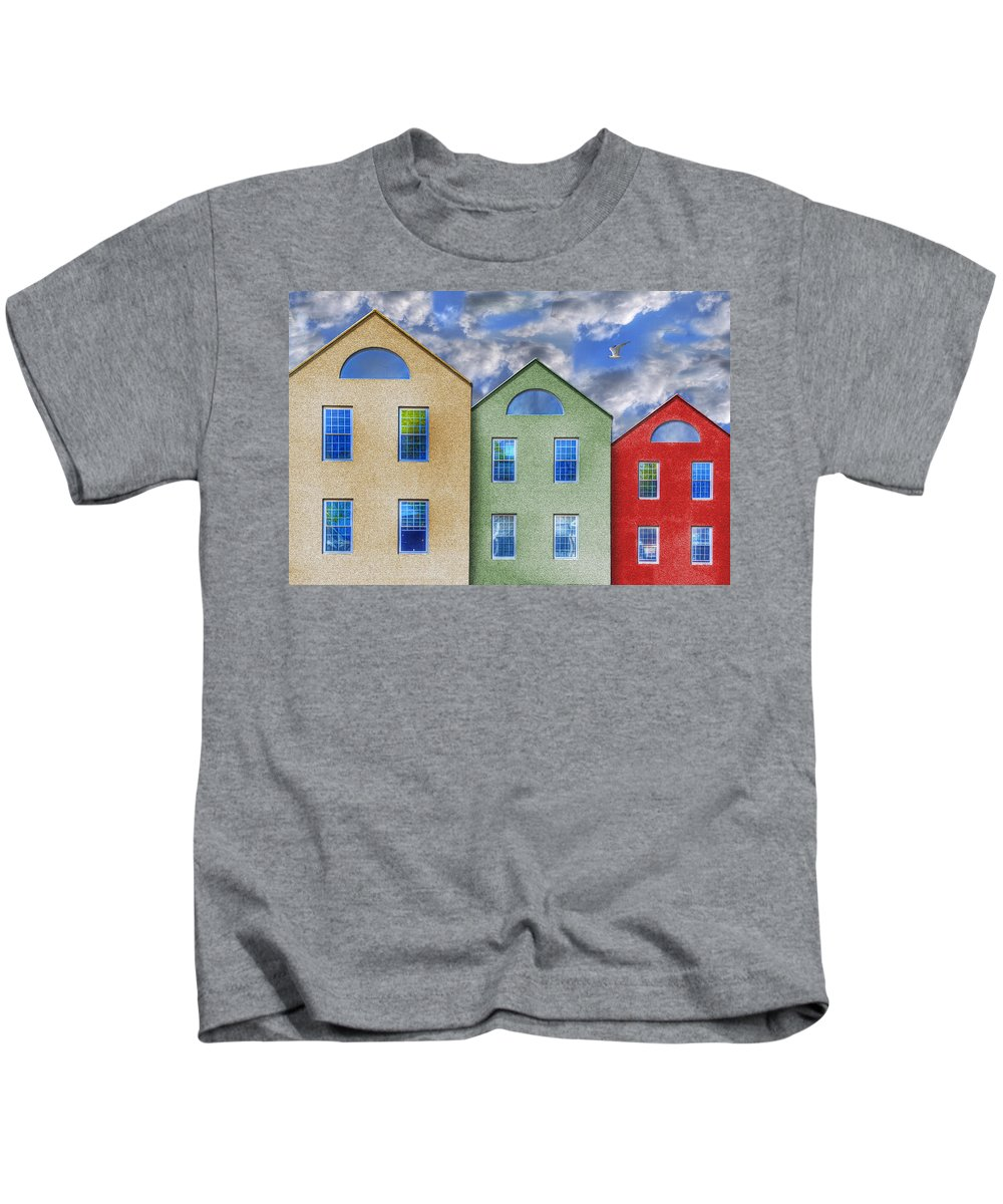 Photography Kids T-Shirt featuring the photograph Three Buildings And A Bird by Paul Wear