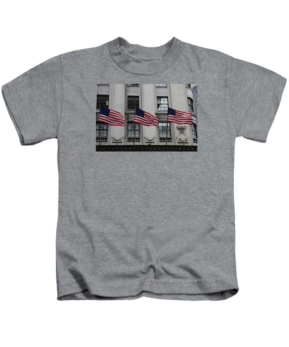Building Kids T-Shirt featuring the photograph Three Flags Together On 5th Avenue by Christiane Schulze Art And Photography