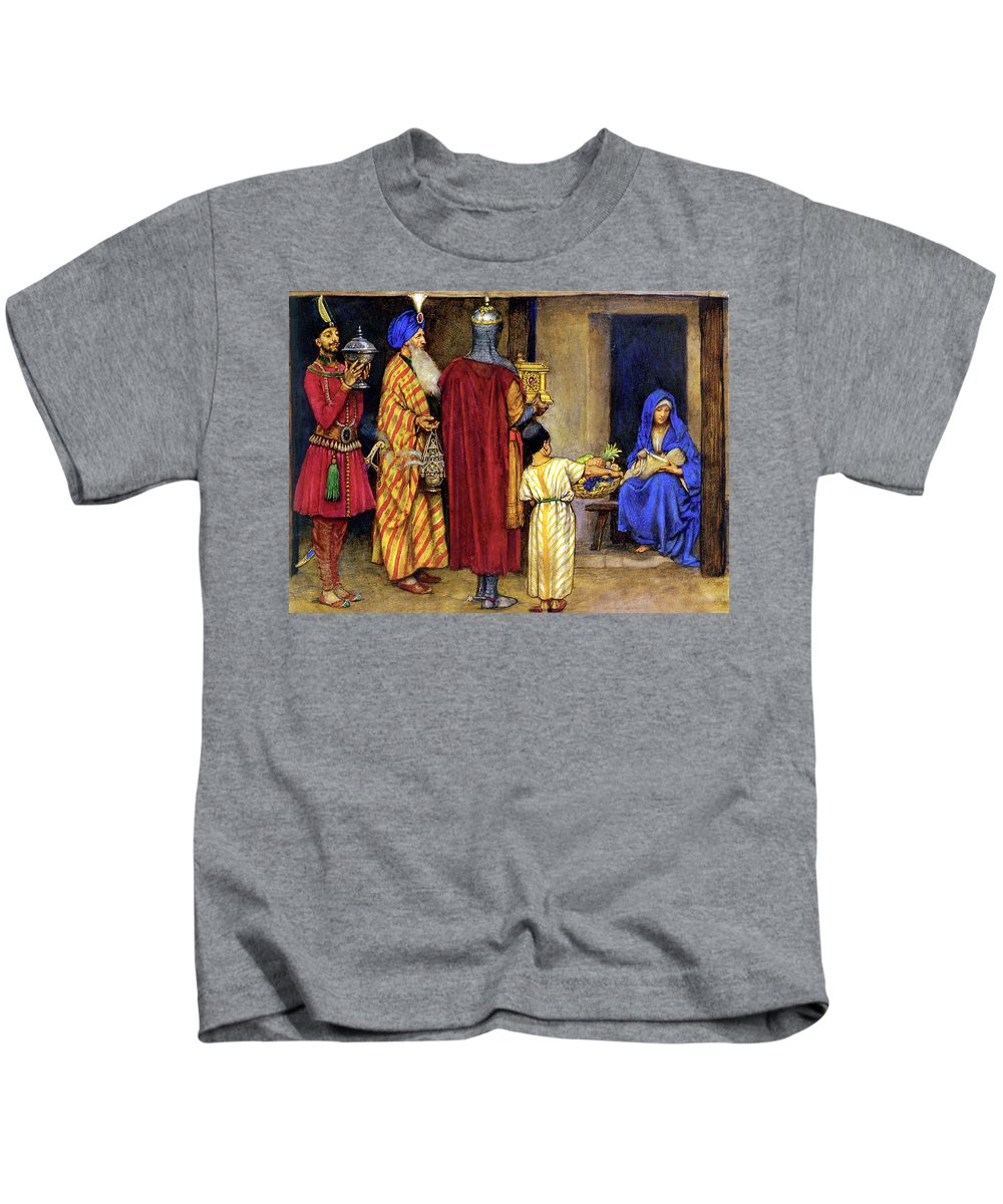 Eleanor Fortescue Brickdale Kids T-Shirt featuring the digital art Three Wise Men Bearing Gifts by Eleanor Fortescue Brickdale