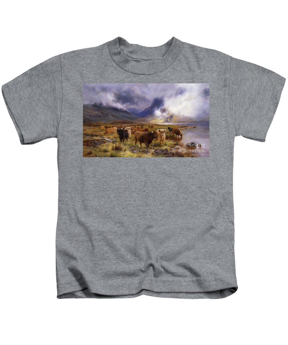 1890s Kids T-Shirt featuring the painting Through Glencoe By Way To The Tay by Louis Bosworth Hurt