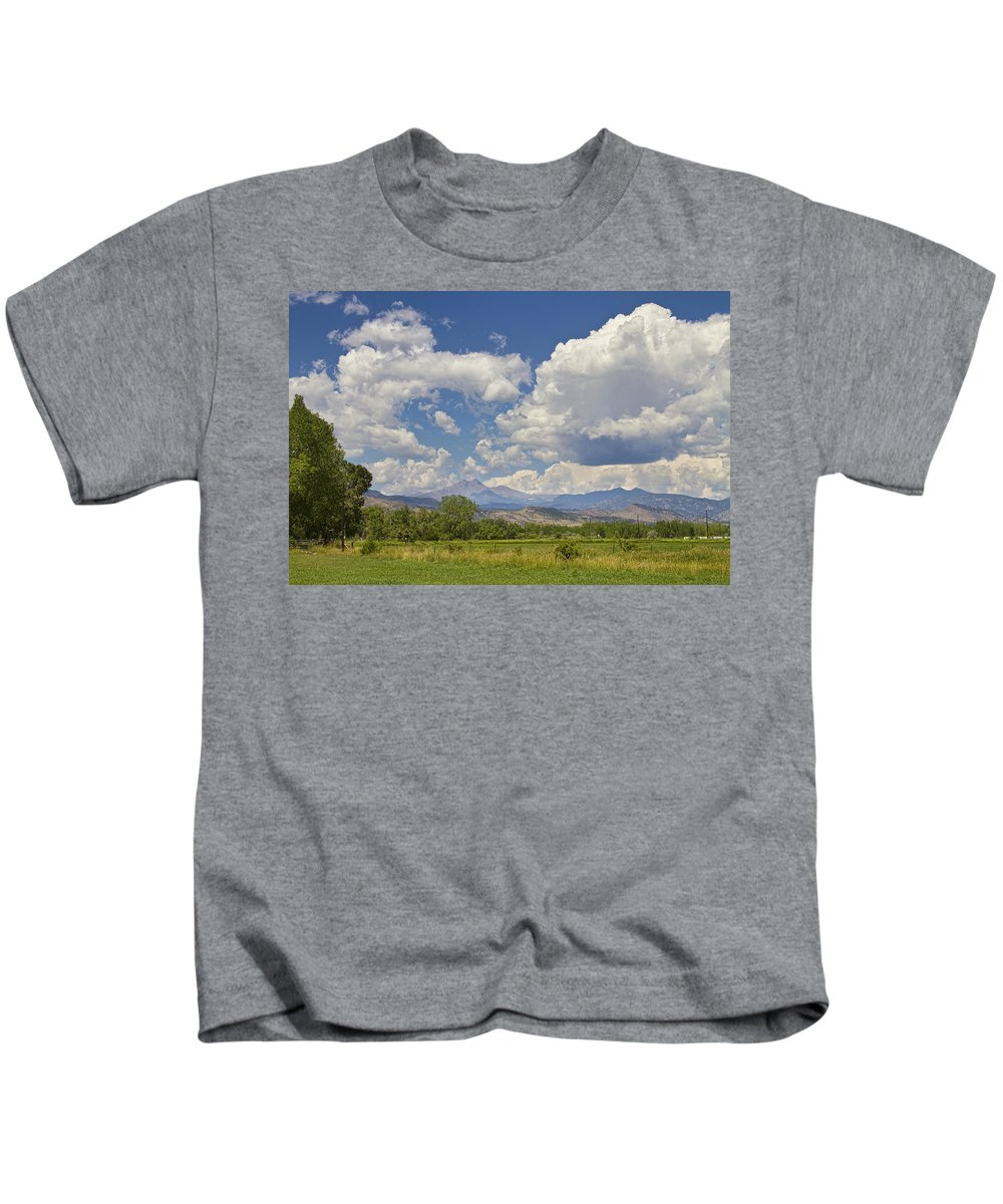 Clouds Kids T-Shirt featuring the photograph Thunderstorm Clouds Boiling Over The Colorado Rocky Mountains by James BO Insogna