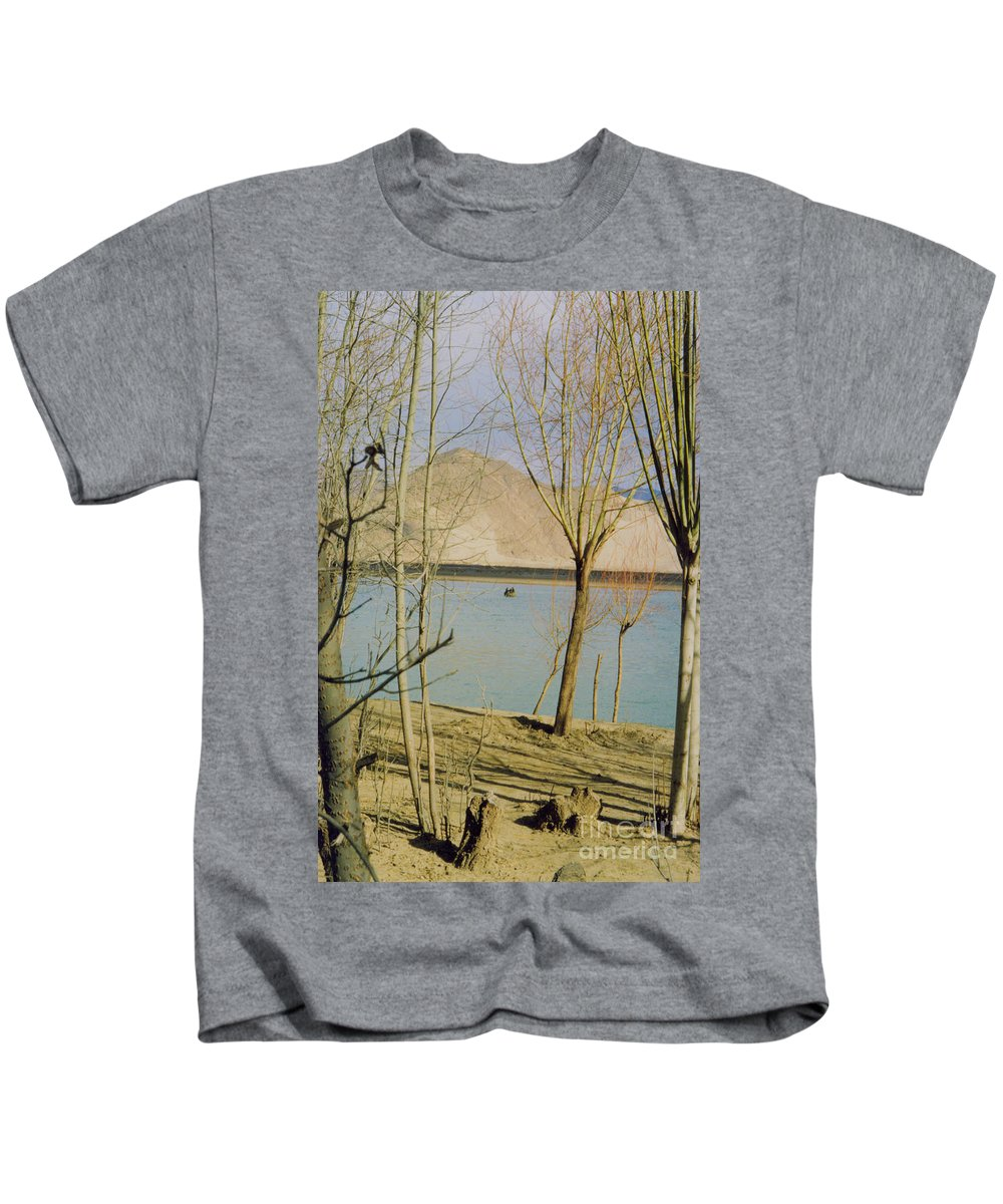 First Star Kids T-Shirt featuring the photograph Tibet Lake Burial by First Star Art