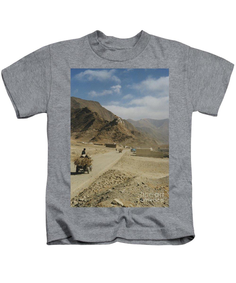 Tibet Kids T-Shirt featuring the photograph Tibet Rural by First Star Art