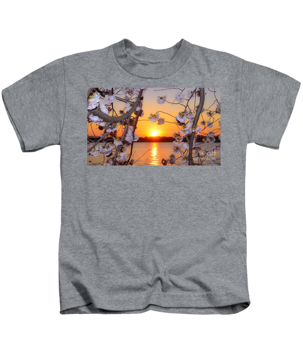 2012 Centennial Celebration Kids T-Shirt featuring the photograph Tidal Basin Sunset With Cherry Blossoms by Jeff at JSJ Photography