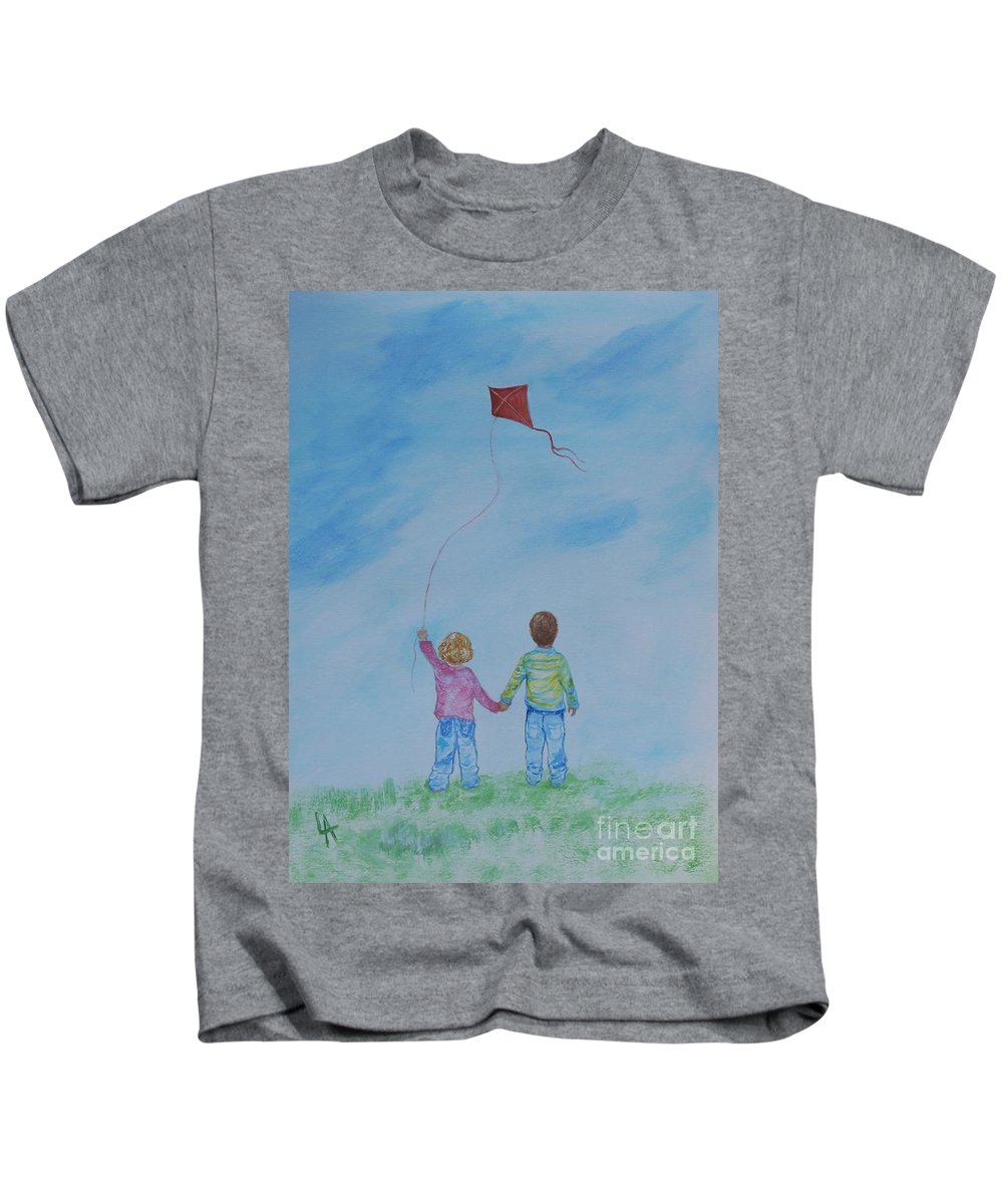 Children Painting Kids T-Shirt featuring the painting Together Flying by Leslie Allen