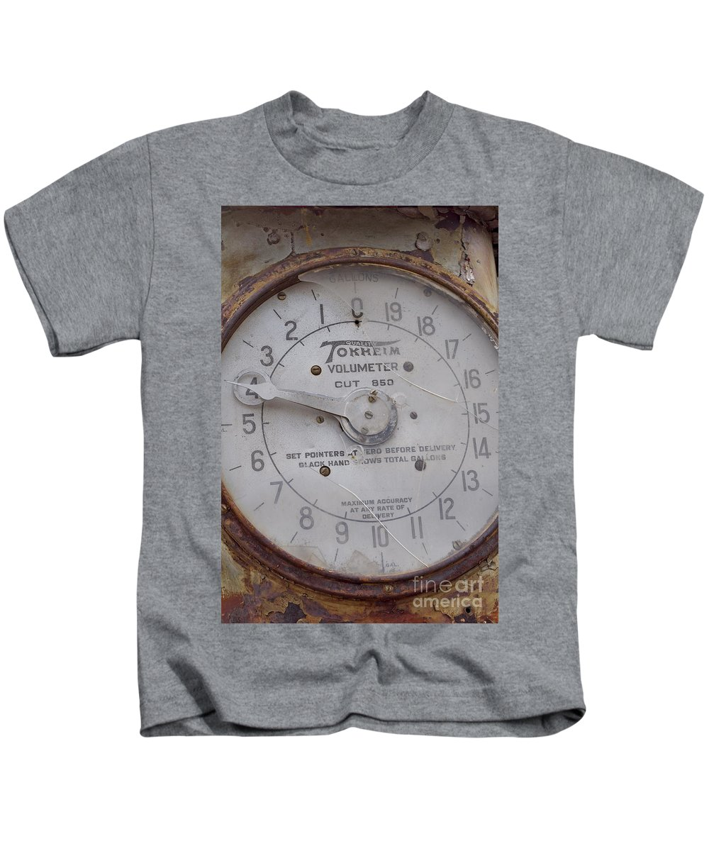 Gas Pump Kids T-Shirt featuring the photograph Tokkeim Volumeter by Anjanette Douglas