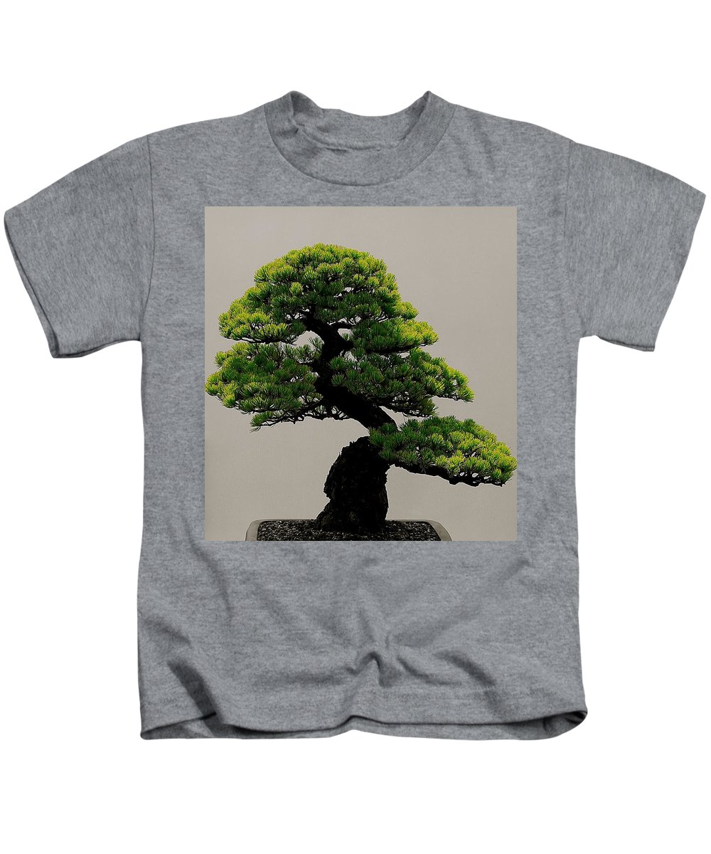 Chicago Botanical Garden Kids T-Shirt featuring the photograph Touch Of Bonsai by Tim G Ross