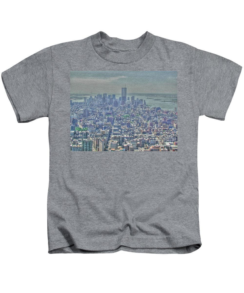 Twin Towers Kids T-Shirt featuring the photograph Towers To The Heavens by Tap On Photo