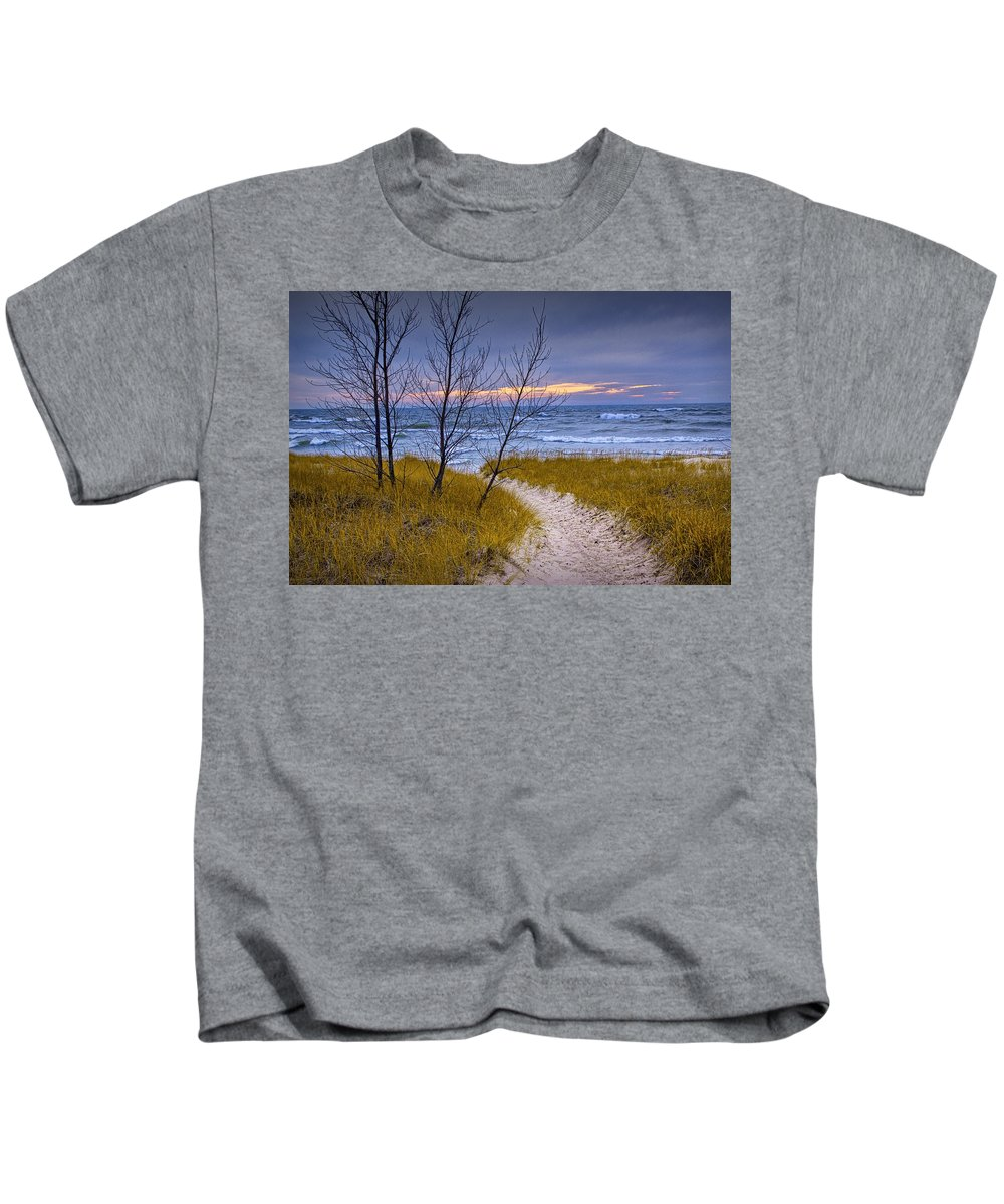 Art Kids T-Shirt featuring the photograph Trail To The Beach by Randall Nyhof