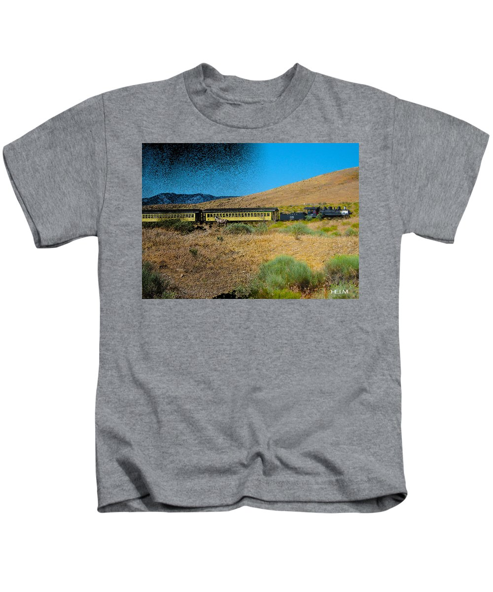 Trains Kids T-Shirt featuring the photograph Train-sitions by Mayhem Mediums