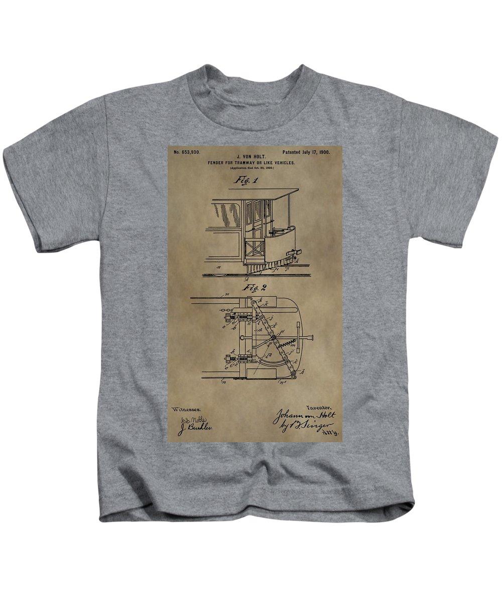 Tramway Fender Patent Kids T-Shirt featuring the mixed media Tramway Fender Patent by Dan Sproul